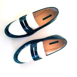 ZARA Black & White Patent Leather Loafer